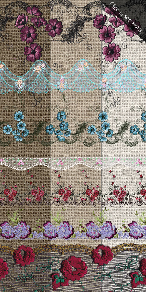 Colorful Lace Clipart Border Overlay