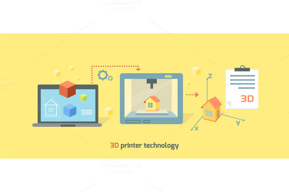 Printer Technology Icon Flat Design