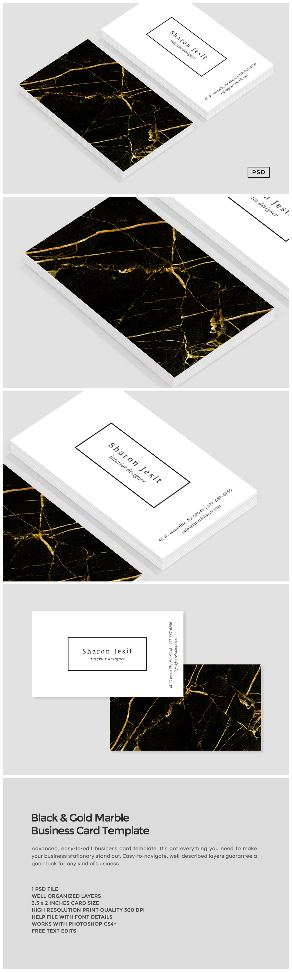 black gold marble business card business card templates on creative market. Black Bedroom Furniture Sets. Home Design Ideas