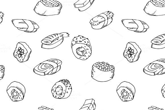 Seamless Pattern Sushi Set