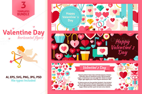 Valentine Day Horizontal Flyers