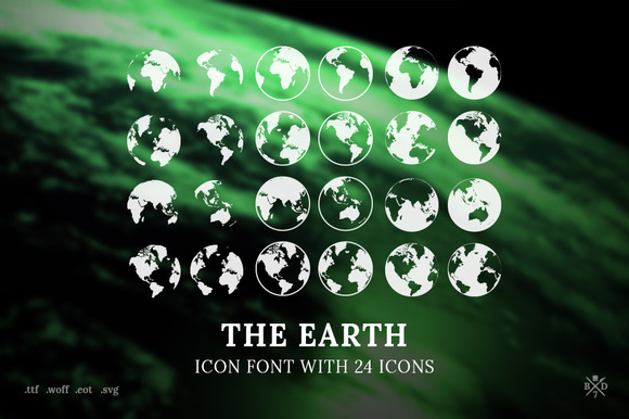 The Earth Icon Font With 24 Icons