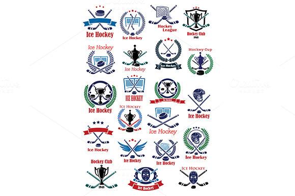Ice Hockey Game Icons And Symbols