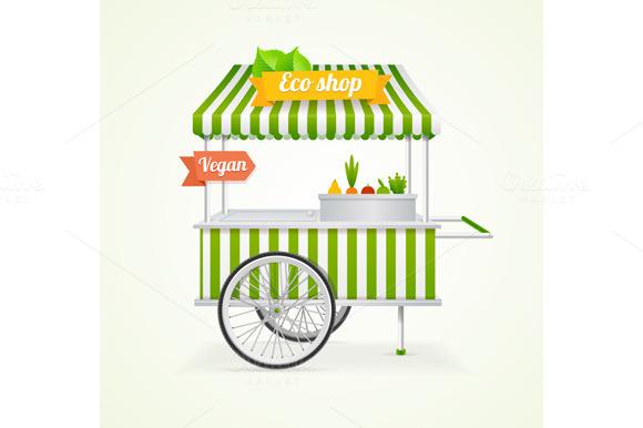 Vegetarian Shop Cart. Vector - Illustrations