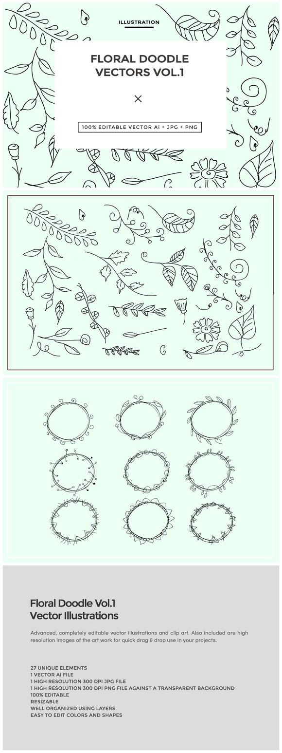 Floral Doodle Vectors Vol.1 - Illustrations