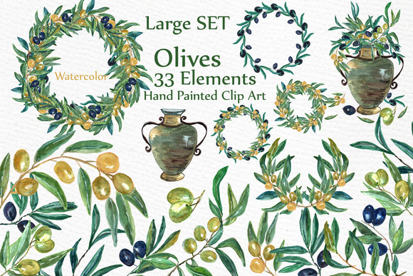 Watercolor Olive Clip Art Set