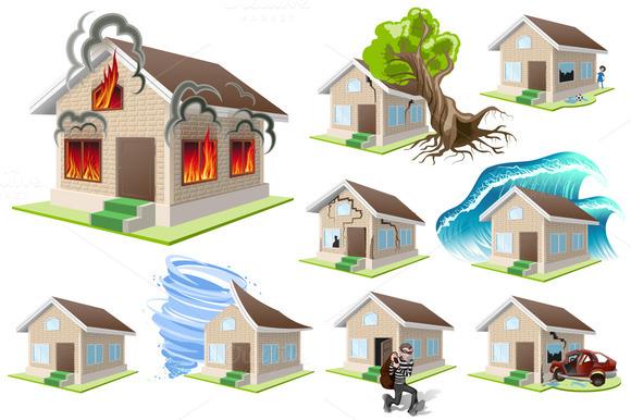 Set homes Disaster. Home insurance - Illustrations
