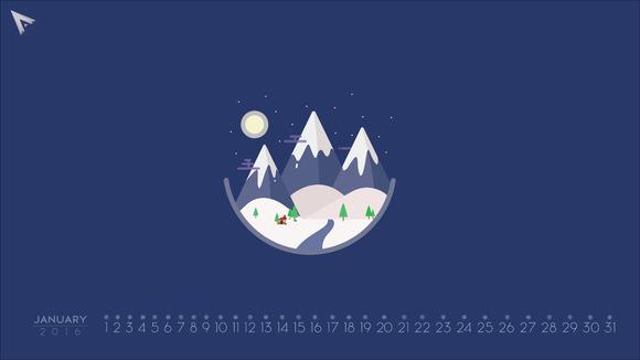 2016 Minimalist Calendar January