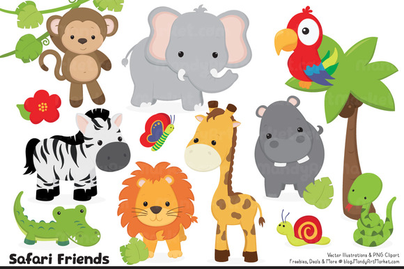 Cute Jungle Animal Clipart Illustrations On Creative Market