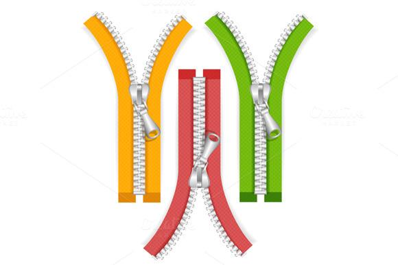 Clothes Zip Set. Vector - Illustrations