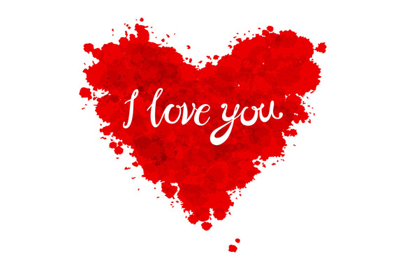 red heart. I love you lettering - Graphics