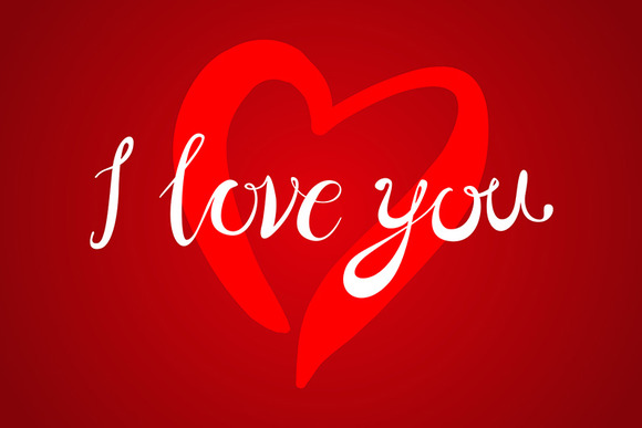 I Love You Lettering Red Heart