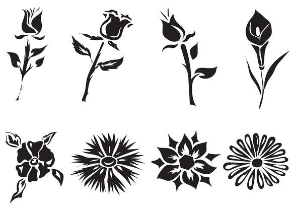 Set Black Flowers Vector