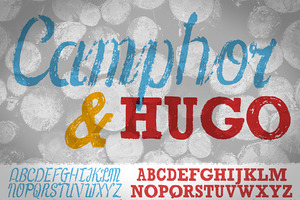 Camphor & Hugo: 2 Fonts + 40 illus.