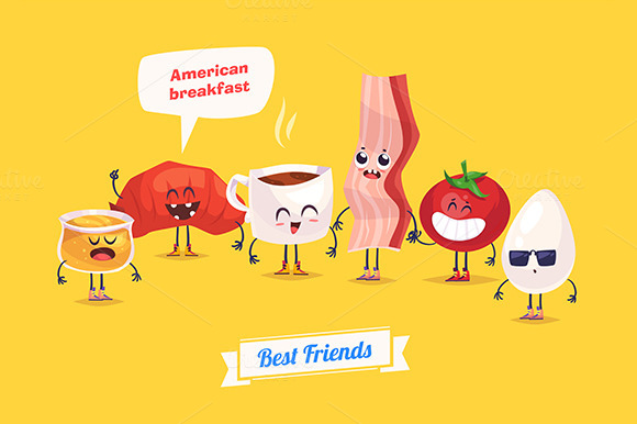 Breakfast. Funny characters - Illustrations