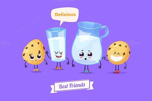 Best friends. Milk and cookies - Illustrations