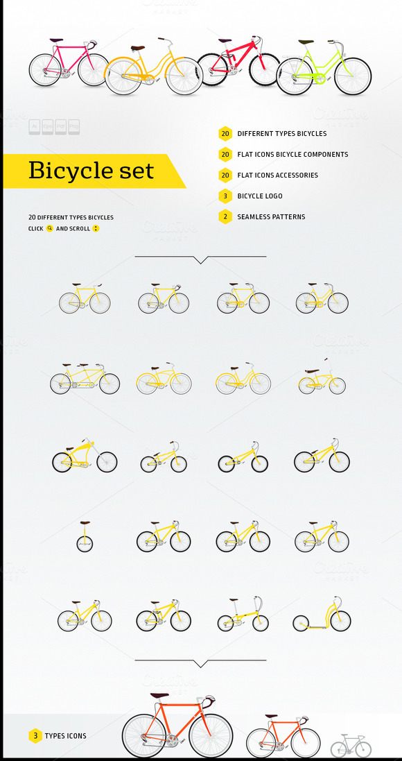 Bicycle Set 20 Types Bicycle