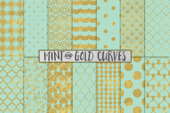 Mint And Gold Foil Backgrounds