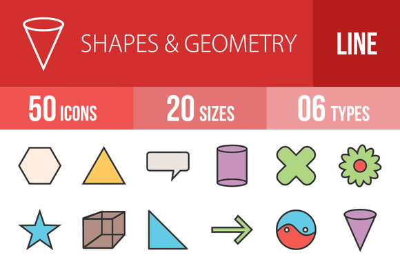 50 Shapes Geometry Filled Line Icons