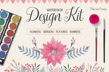 Watercolor Design Kit. Pink & Orange