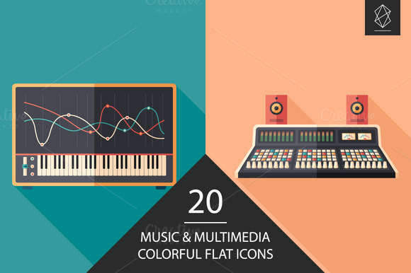 Music And Multimedia Flat Icon Set