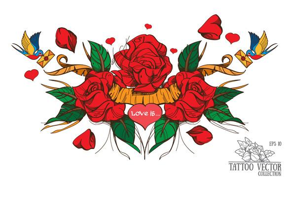 Roses. Classic tattoo - Illustrations