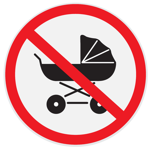 No Baby Carriage Sign
