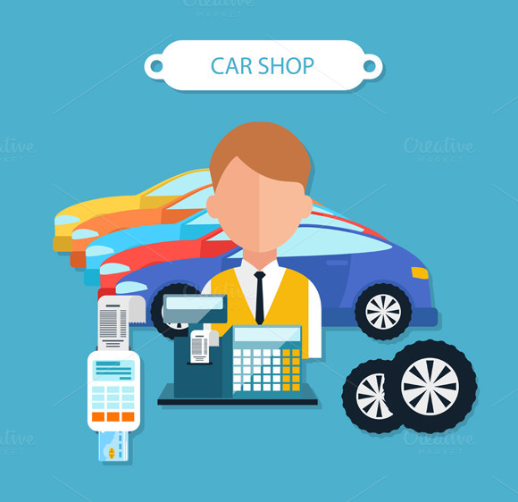 Car Shop Concept Flat Design Style