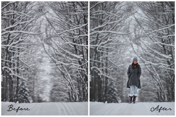 8 Digital Backdrops Snow Drops