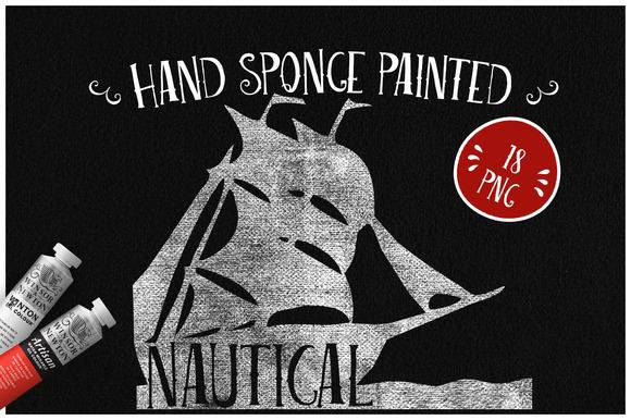 Sponge Painted Nautical Elements
