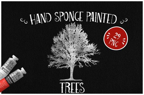 Sponge Painted Trees