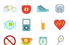 Healthy life style flat set
