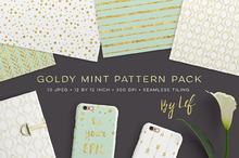 Gold Mint Digital Paper Patterns