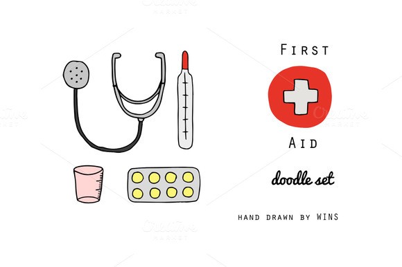 First Aid. Doodle set - Illustrations