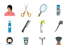 Hairdressing flat icons set