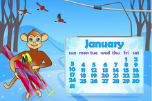 12 Pages of Calendar with Monkey