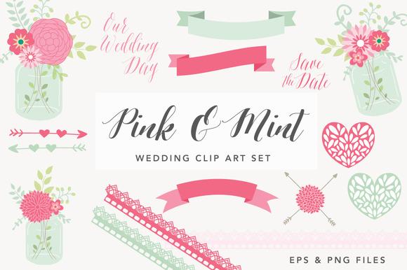 Pink Mason Jar Wedding Graphics