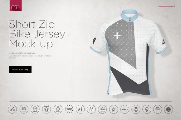Short Zip Bike Jersey Mock-up