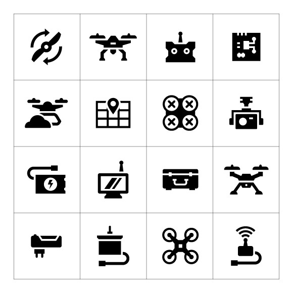 Set Icons Of Quadrocopter And Drone
