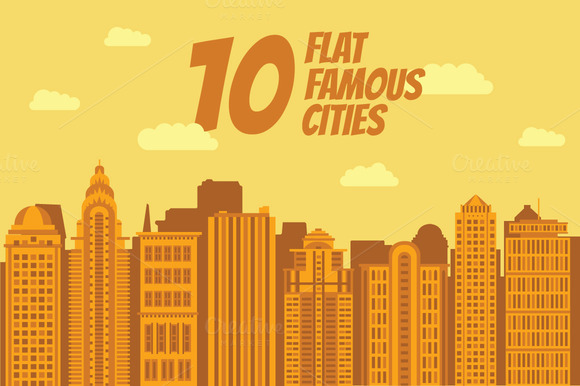 10 Flat Vectors Of The Famous Cities