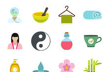 Spa flat icons set