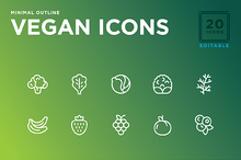 Minimal Vegan icon set