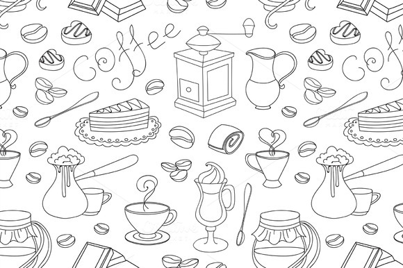 Doodle Pattern Coffee