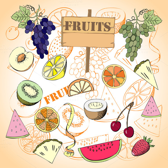 Fruit Set.Hand Drawn Sketches - Illustrations