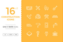 Construction Icons - Line and Solid