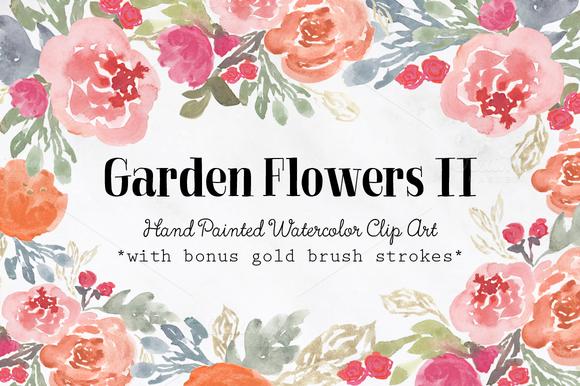 Garden Flowers II Watercolor Clipart