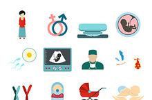 Pregnancy flat icons set