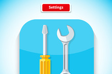 Setting App Icon Flat Style Design