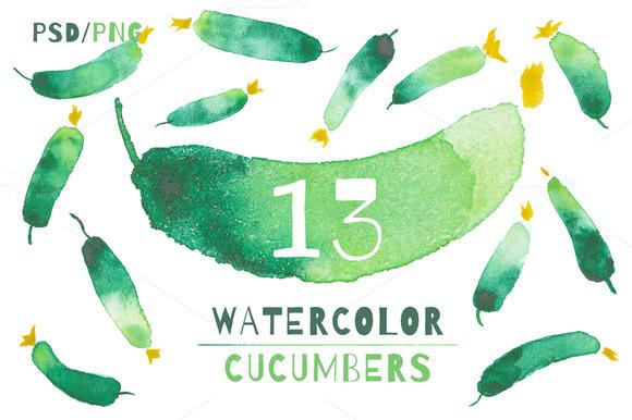 13 VEGETABLE WATERCOLOR ELEMENTS