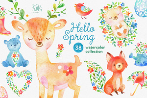 Hello Spring. Watercolor collection